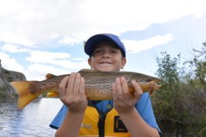 My little buddy with a fine Big Hole River brown that ate a Salmon fly dry. Big Hole River Fishing Report 6-7-16